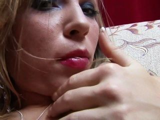 Translucent Dildo Goes In This Hot Blonde Shaven Vagina