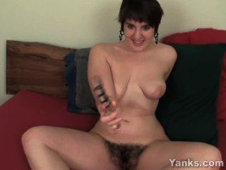 Chesty Amber Toying Her Hairy Beaver
