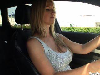 Busty Carol Goldnerova Drives Around