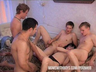 Mama Wants Four Boys To Cover Her In Hot Cum