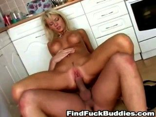 Blond Amateur Fucked Hard In Kitchen