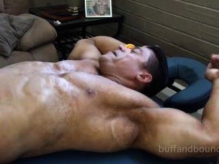 Beefy Bodybuilder Bound And Tickled - Zeus Diamonte