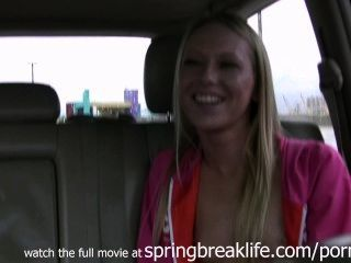 Blonde Fingers Self In Car