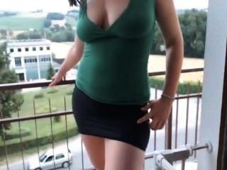 Girl With Glasses Masturbating On The Balcony