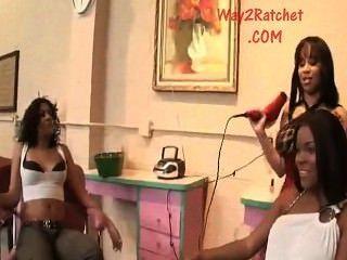 Ebony Reality : Fight Turns Into Huge Reality Ebony Orgy In Public !
