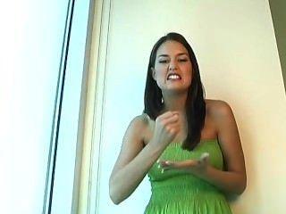 Masturbation Instruction In Green Dress