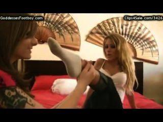 Female Slave Serves Her Mistresses Socks