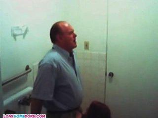 Older Guy Getting Blowjob By Teen Girl On Toilet
