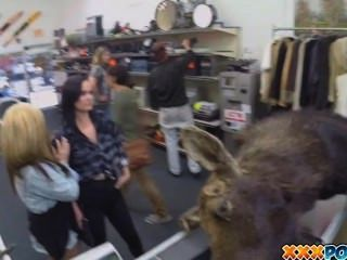 Two Hot Lesbians Have Lesbian Sex For Money In Pawn Shop