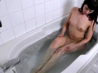 Hot Brunette Briar Takes A Hot Bath And Plays With Her Wet, Pink Pusy