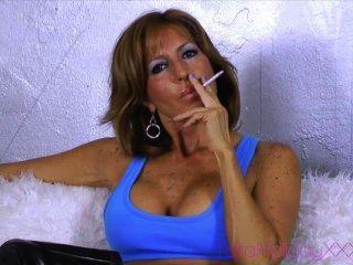 Busty Sexy Mature Smoker