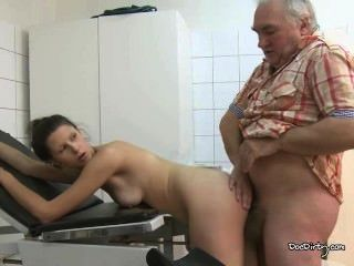 Old Doctors Cock Sucked By Brunette Before Anal Sex