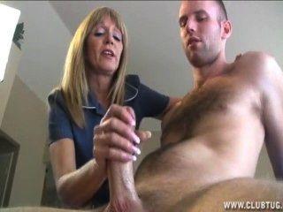 Mature Blonde Lady Jacks Off A Naked Guy