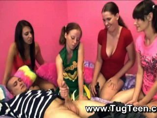 4 Petite Teen Girls Give Guy Handjob
