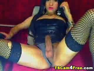 Asian Tranny Stroking Her Cock