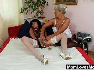 Furry Gran Licks Hot Mamma In Lesbian Action