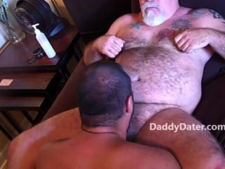 Hairy Daddybear Top With Tattooes Gets Blowjob From Younger Male
